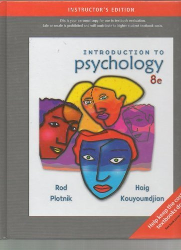 Introduction to Psychology Instructor's Edition.: Rod Plotnik and