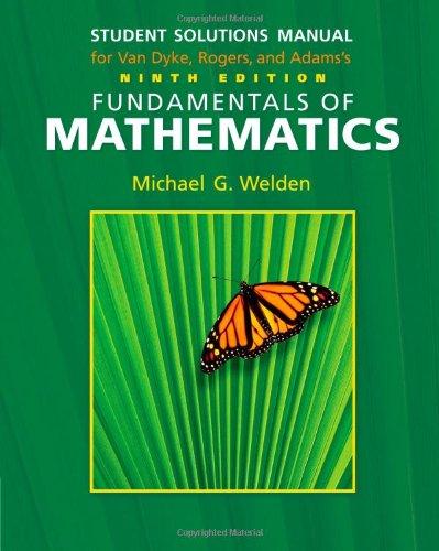 Student Solutions Manual for Van Dyke/Rogers/Adam's Fundamentals: James Van Dyke,