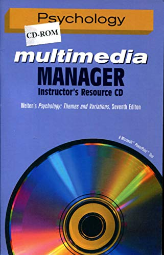 Psychology, Multimedia Manager, Instructor's Resource Cd to: Weiten