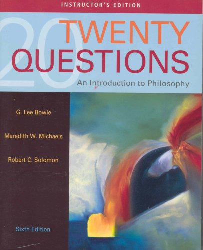 9780495171874: Twenty Questions an Introduction to Philosophy - Instructor's Edition