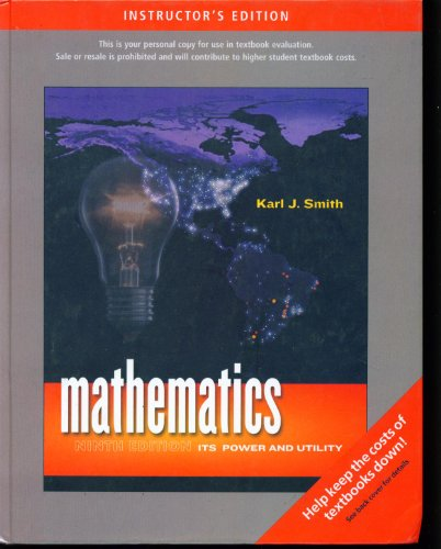 9780495389149: Mathematics Its Power and Utility Instructor's Edition Ninth Edition