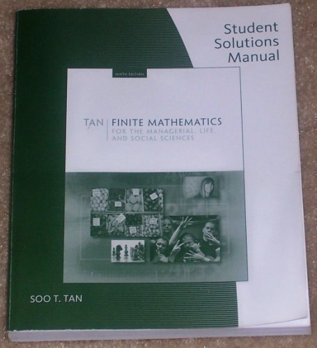 9780495389286: Student Solutions Manual for Tan's Finite Mathematics for the Managerial, Life, and Social Sciences, 9th
