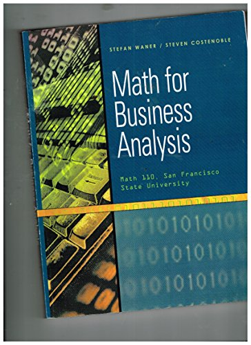 9780495439349: Math for Business Analysis [Math 110, San Francisco State University]