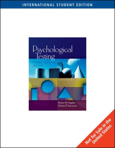 Psychological Testing: Principles, Applications, And Issues, International: Robert M. Kaplan