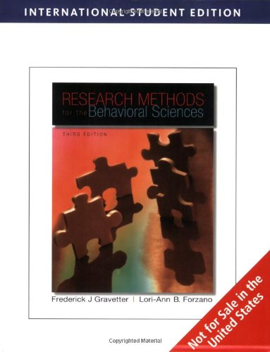 9780495509837: Research Methods for the Behavioral Sciences, International Edition