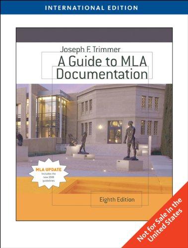 9780495797579: A Guide to MLA Documentation, International Edition (Eighth Edition)