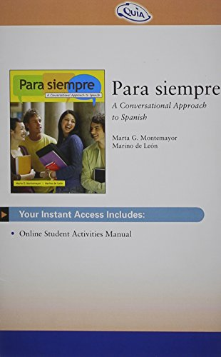 9780495802198: Quia Online Student Activity Manual 3-Semester Printed Access Card for de Leon/Montemayor's Para siempre