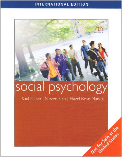 9780495809456: Social Psychology (Seventh Edition)