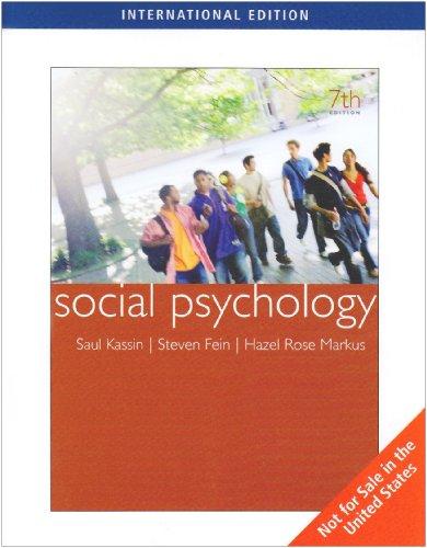 Social Psychology: Markus Hazel Fein
