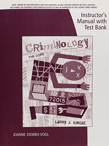 Instructor's Manual with Test Bank Criminology the: Ziembo-Vogl, Joanne M