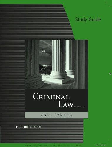 9780495812302: Study Guide for Samaha's Criminal Law