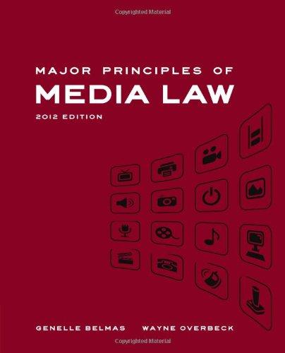 9780495901952: Major Principles of Media Law, 2012 Edition