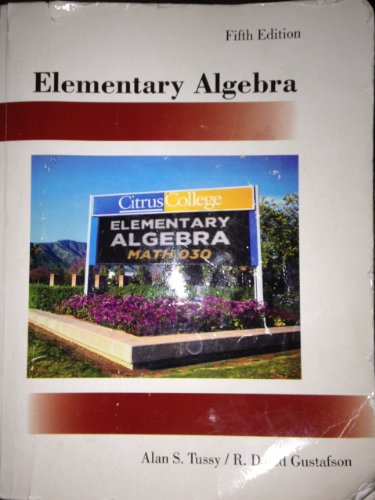 9780495992004: Elementary Algebra Fifth Edition Citrus College Alan S Tussy