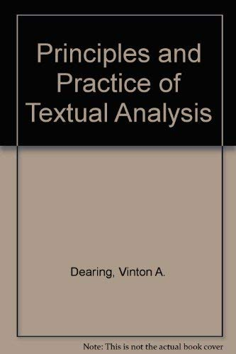9780520024304: Principles and Practice of Textual Analysis
