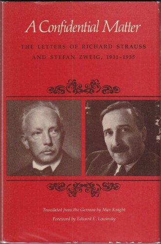 9780520030367: Confidential Matter: Letters, 1931-35