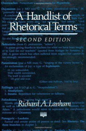 9780520076693: A Handlist of Rhetorical Terms