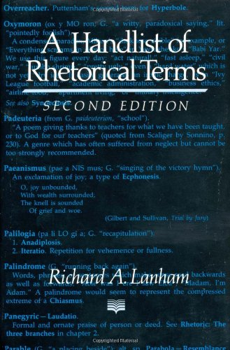 9780520076693: A Handlist of Rhetorical Terms