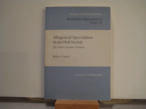 9780520097391: Allegorical Speculation in an Oral Society: The Tabwa Narrative Tradition (University of California Publications in Modern Philology)