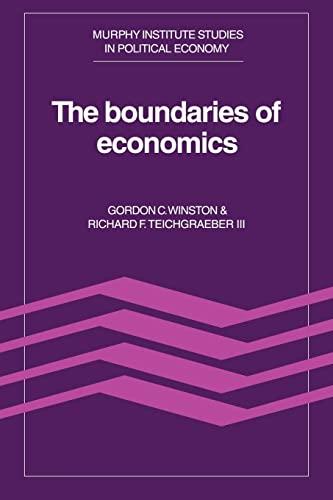 9780521022507: The Boundaries of Economics (Murphy Institute Studies in Political Economy)