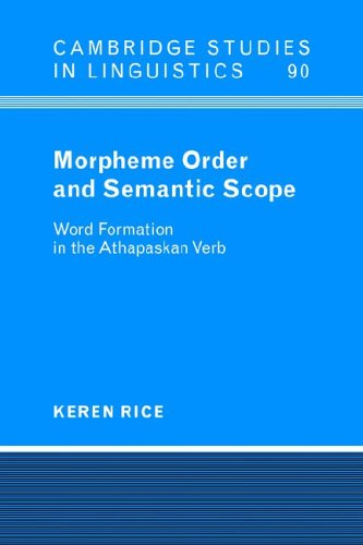 9780521024501: Morpheme Order and Semantic Scope: Word Formation in the Athapaskan Verb (Cambridge Studies in Linguistics)