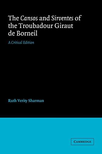 9780521031783: Cansos Sirventes Giraut de Borneil: A Critical Edition