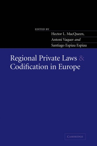 9780521035934: Regional Private Laws and Codification in Europe
