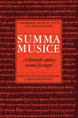 9780521036023: Summa Musice: A Thirteenth-Century Manual for Singers (Cambridge Musical Texts and Monographs)