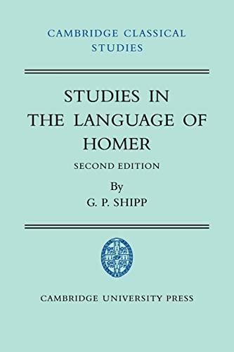 9780521038263: Studies in The Language of Homer (Cambridge Classical Studies)