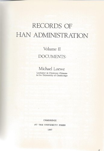 9780521055871: Records of Han Administration: Volume 2: Documents v. 2 (University of Cambridge Oriental Publications)