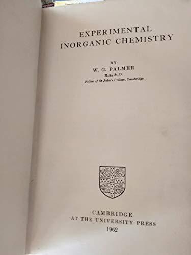9780521059022: Experimental Inorganic Chemistry