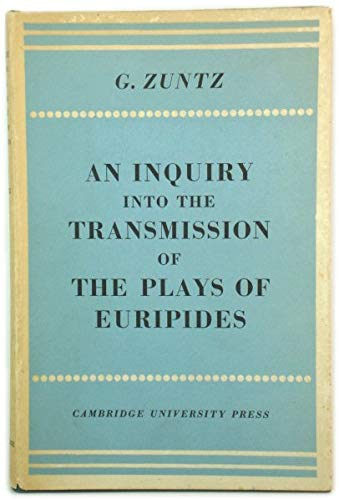 9780521068970: An Enquiry into the Transmission of the Plays of Euripides