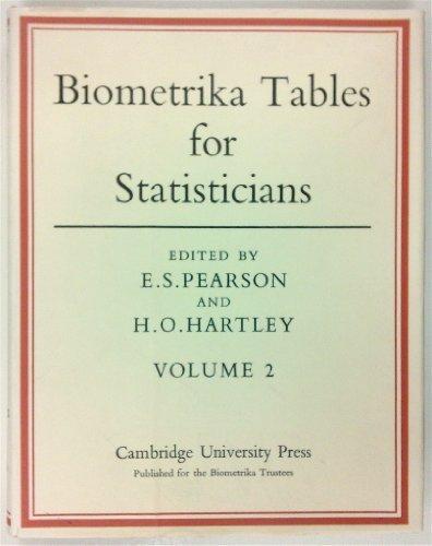 Biometrika Tables for Statisticians. Volume II (v. 2)