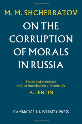 9780521073134: On the Corruption of Morals in Russia