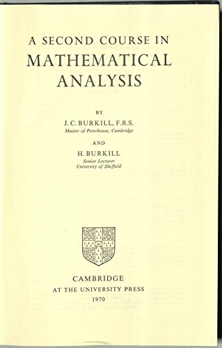 9780521075190: A Second Course in Analysis