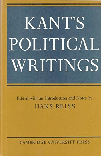 9780521077170: Kant's Political Writings (Cambridge Studies in the History and Theory of Politics)
