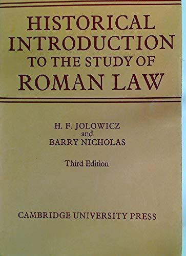 9780521082532: A Historical Introduction to the Study of Roman Law