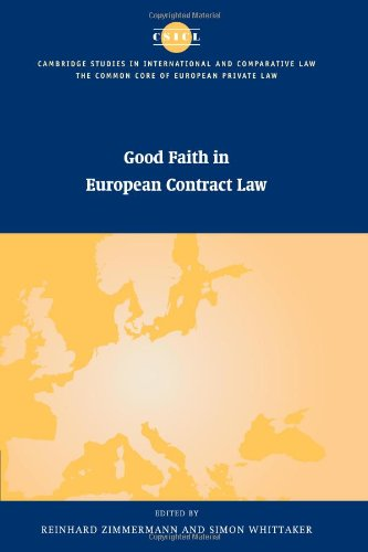 9780521088039: Good Faith in European Contract Law (The Common Core of European Private Law)