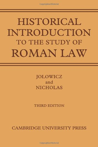 9780521088756: A Historical Introduction to the Study of Roman Law