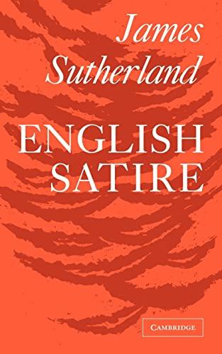 9780521091756: English Satire (Clark Lectures)