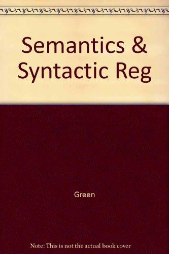 9780521097437: Semantics & Syntactic Reg