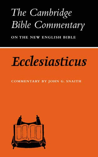 9780521097758: Cambridge Bible Commentaries: Apocrypha 5 Volume Set: Ecclesiasticus or the Wisdom of Jesus, Son of Sirach