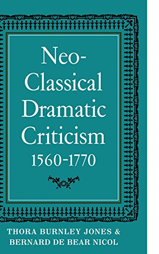 Neo-Classical Dramatic Criticism 1560-1770: Jones, Thora Burnley;