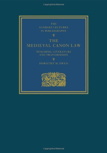 9780521106566: The Medieval Canon Law: Teaching, Literature and Transmission (Sandars Lectures in Bibliography)