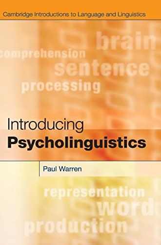 9780521113632: Introducing Psycholinguistics (Cambridge Introductions to Language and Linguistics)