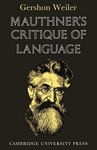 9780521115865: Mauthner's Critique of Language