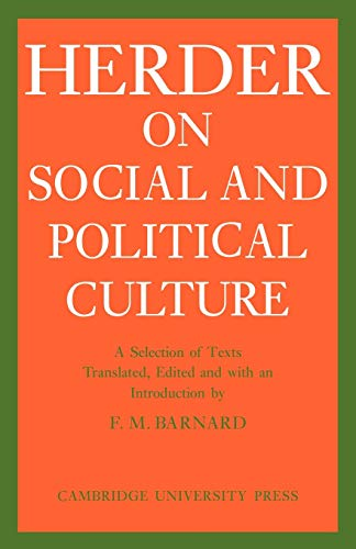 9780521133814: J. G. Herder on Social and Political Culture (Cambridge Studies in the History and Theory of Politics)