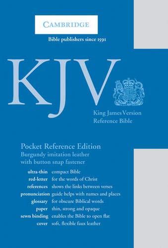 KJV Pocket Reference Edition KJ242:XRF Burgundy Imitation Leather, with Flap Fastener