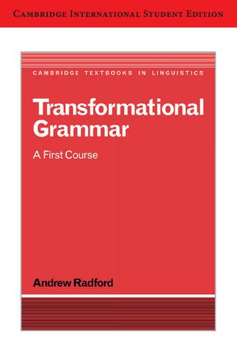 9780521148634: Transformational Grammar International Student Edition: A First Course