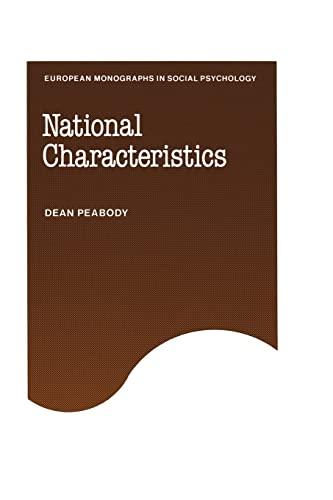 9780521154994: National Characteristics (European Monographs in Social Psychology)