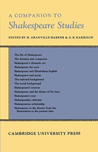 9780521159012: Companion to Shakespeare Studies